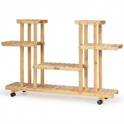 4-Tier Wood Casters Rolling Shelf Plant Stand-Natural - Color: Natural - NorCal Cyber Sales