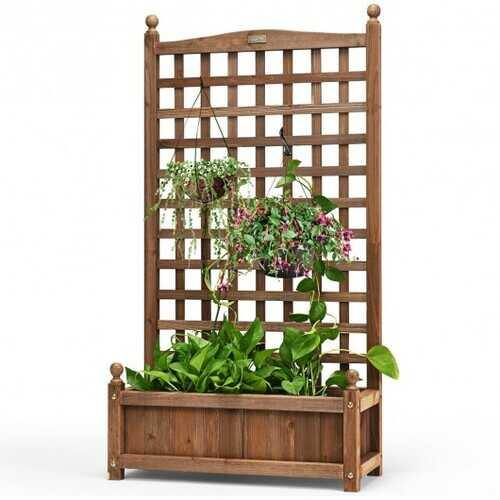 Solid Wood Planter Box with Trellis Weather-resistant Outdoor - NorCal Cyber Sales