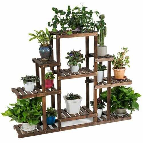 "6-Tier Flower Wood Stand Plant Display Rack Storage Shelf - Size: 47.5"" x 10"" x 38"" - NorCal Cyber Sales"