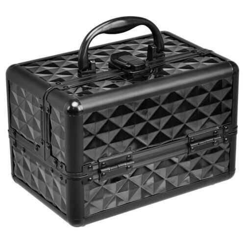 Beauty Cosmetic Makeup Case with Mirror & Extendable Trays-Black - Color: Black - NorCal Cyber Sales