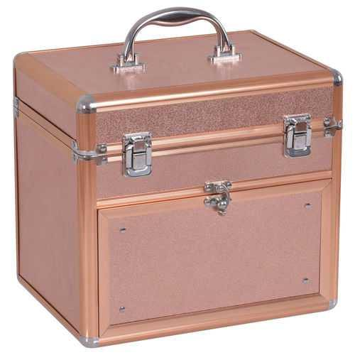 Nail Polish Beauty Makeup Case w/ Slide out Drawer - Color: Golden - NorCal Cyber Sales