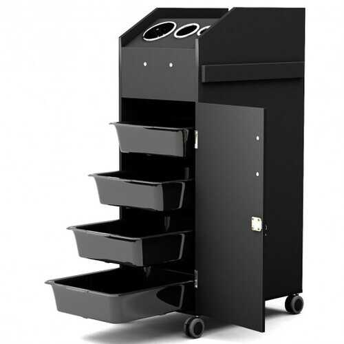 Black Salon Trolley Cart with 4 Storage Trays-Black - Color: Black - NorCal Cyber Sales