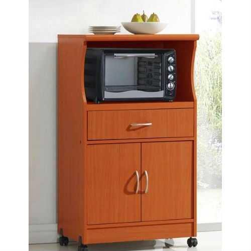 Mahogany Wood Finish Kitchen Cabinet Microwave Cart - NorCal Cyber Sales