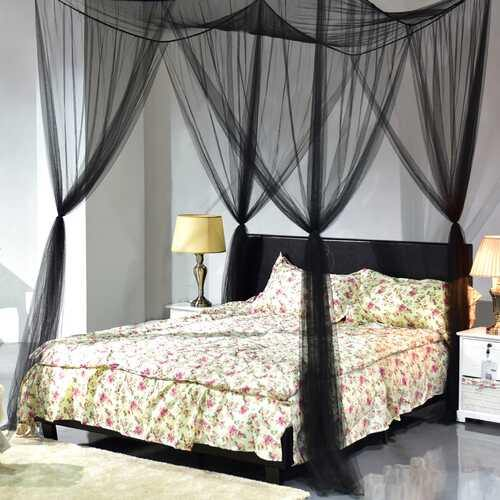 4 Corner Post Full Queen King Size Bed Mosquito Net-Black - Color: Black - NorCal Cyber Sales