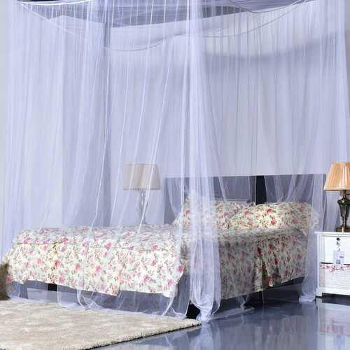 4 Corner Post Full Queen King Size Bed Mosquito Net-White - Color: White - NorCal Cyber Sales