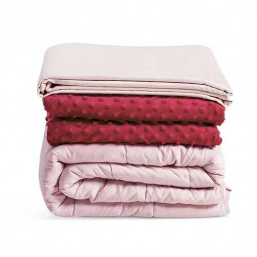 3 Piece 7lbs Heavy Weighted Blanket-Pink - Color: Pink - NorCal Cyber Sales