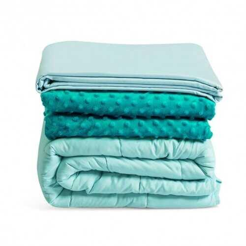 "60"" x 80"" Weighted Blanket with Hot & Cold Duvet Covers -Green - Color: Green - NorCal Cyber Sales"