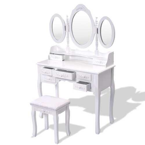 Black / White Vanity Makeup Dressing Table w/ Tri Folding Mirror + 7 Drawers-White - Color: White - NorCal Cyber Sales