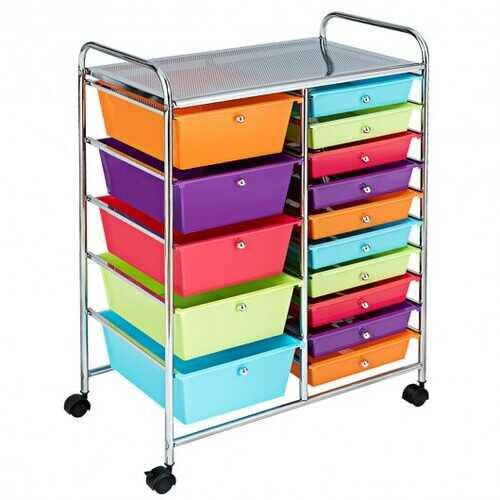 15-Drawer Utility Rolling Organizer Cart Multi-Use Storage-Deep Multicolor - Color: Deep Multicolor - NorCal Cyber Sales