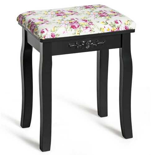 Vanity Wood Dressing Stool Padded Piano Seat with Rose Cushion-Black - Color: Black - NorCal Cyber Sales