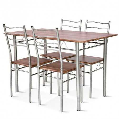 5 pcs Wood Metal Dining Table Set with 4 Chairs-Walnut - Color: Walnut - NorCal Cyber Sales