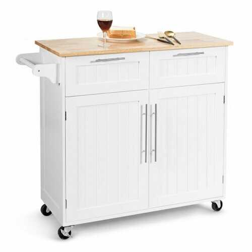 Heavy Duty Rolling Kitchen Cart-White - Color: White