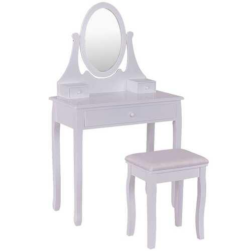 Bathroom Vanity Wooden Makeup Dressing Table Stool Set -White - Color: White - NorCal Cyber Sales