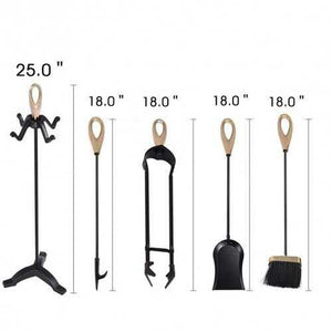 5 pcs Stylish Gold Iron Fireplace Tools Set - NorCal Cyber Sales