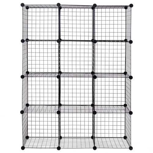 DIY 12 Cube Grid Wire Cube Shelves - Color: Black - NorCal Cyber Sales