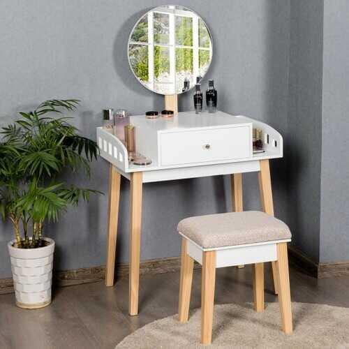 Wooden Makeup Dressing Mirror Table Set with Drawer - NorCal Cyber Sales