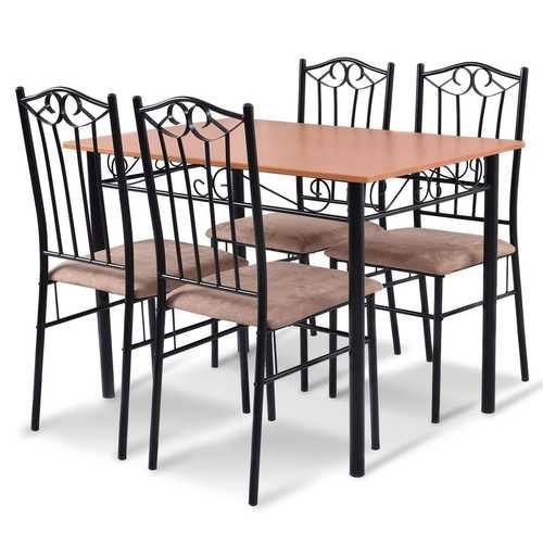 5 pcs Dining Set Wooden Table and 4 Cushioned Chairs - NorCal Cyber Sales