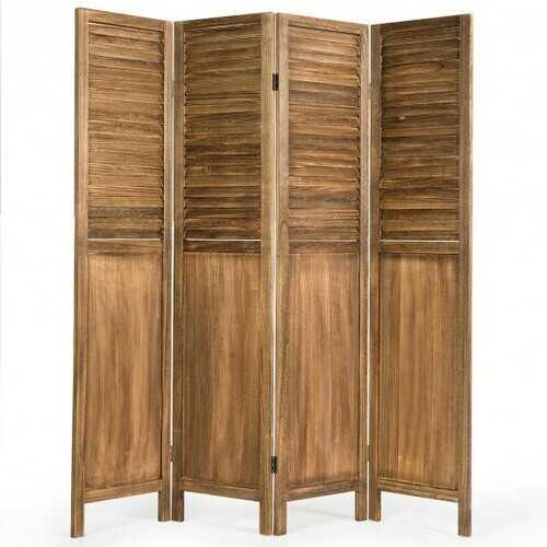 5.6 Ft Tall 4 Panel Folding Privacy Room Divider-Wood - Color: Wood - NorCal Cyber Sales