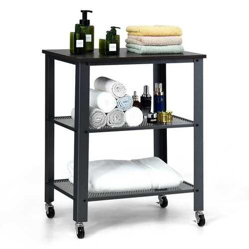 3-Tier Kitchen Utility  Industrial Cart with Storage-Black - Color: Black - NorCal Cyber Sales