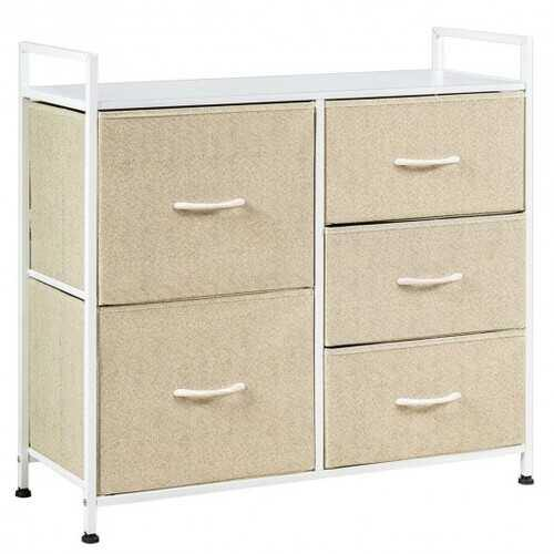 5 Dorm Room Unit Side  Drawers Storage-Beige - Color: Beige - NorCal Cyber Sales
