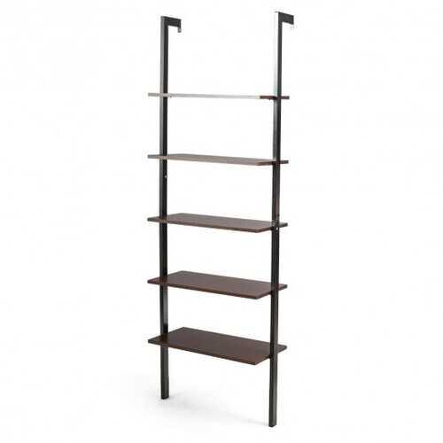 5-Tier Metal Frame Ladder Shelf -Brown - Color: Brown - NorCal Cyber Sales