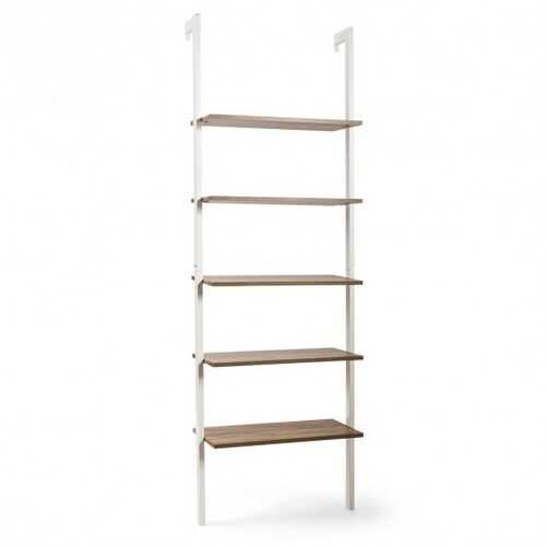 5-Tier Metal Frame Ladder Shelf -White - Color: White