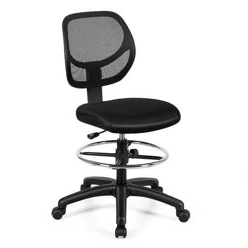 Adjustable Height Mid Back Mesh Drafting Office Chair - Color: Black - NorCal Cyber Sales