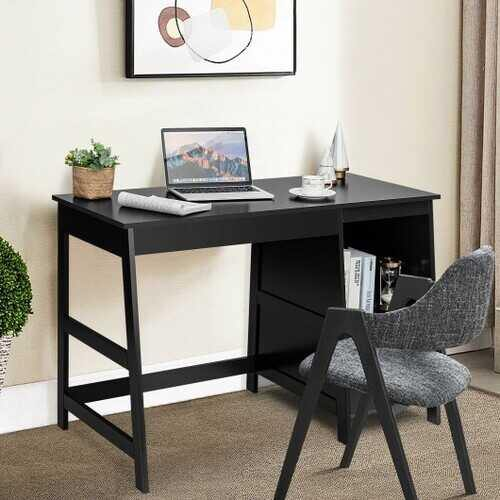"47.5"" Modern Home Computer Desk with 2 Storage Drawers-Black - Color: Black - NorCal Cyber Sales"