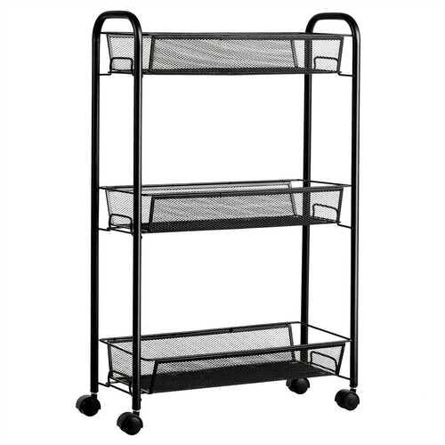 3-Tier Mesh Rolling Cart Mobile Organizer Stand Utility Cart Trolley - Color: Black - NorCal Cyber Sales