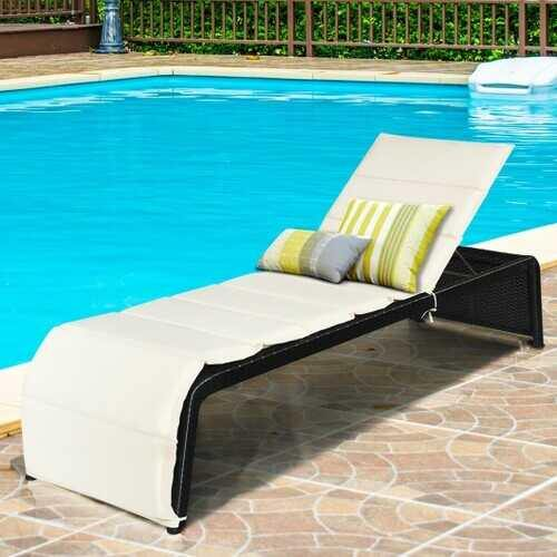 Patio Rattan Lounge Chair Back Adjustable Chaise Recliner  with Cushioned-White - Color: White - NorCal Cyber Sales