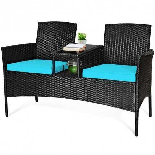 Patio Rattan Conversation Set Seat Sofa-Turquoise - Color: Turquoise - NorCal Cyber Sales