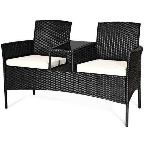Patio Rattan Set Sofa Cushioned Loveseat Glass Table Chairs - Color: White - NorCal Cyber Sales