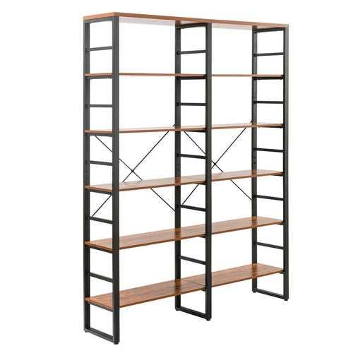 "80.7"" Double Wide 6-Shelf Bookcase Industrial Metal Storage Shelf - NorCal Cyber Sales"