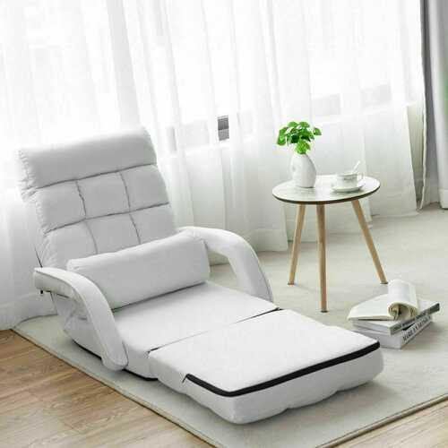 Folding Lazy Floor Chair Sofa with Armrests and Pillow-White - Color: White - NorCal Cyber Sales