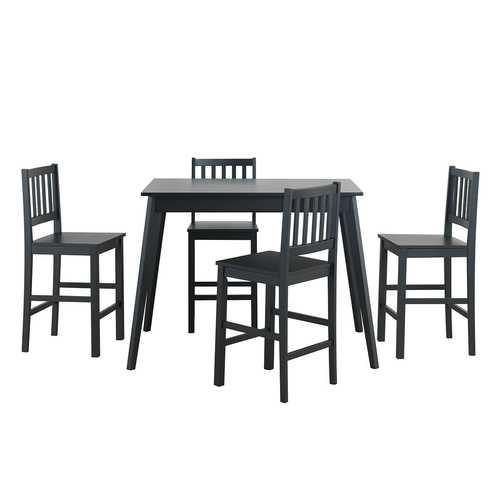 5 Piece Counter Height Dining Set Kitchen Table  - Color: Black - NorCal Cyber Sales
