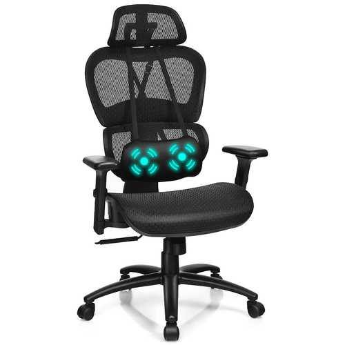 Mesh Office Chair Recliner Adjustable Headrest - Color: Black - NorCal Cyber Sales