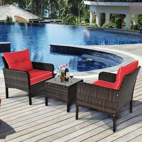 3 Pcs Outdoor Patio Rattan Conversation Set-Red - Color: Red - NorCal Cyber Sales