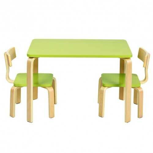 3 Piece Kids Wooden Activity Table and 2 Chairs Set-Green - Color: Green - NorCal Cyber Sales
