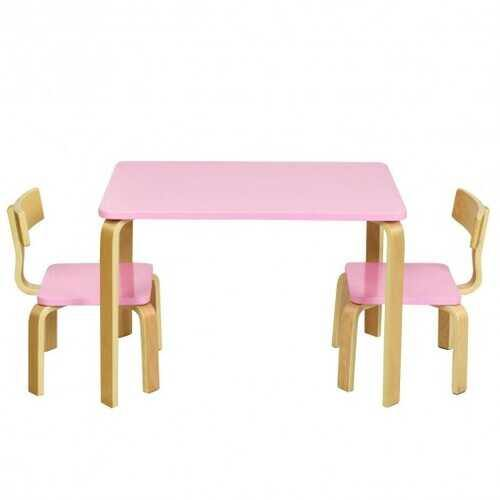 3 Piece Kids Wooden Activity Table and 2 Chairs Set-Pink - Color: Pink - NorCal Cyber Sales