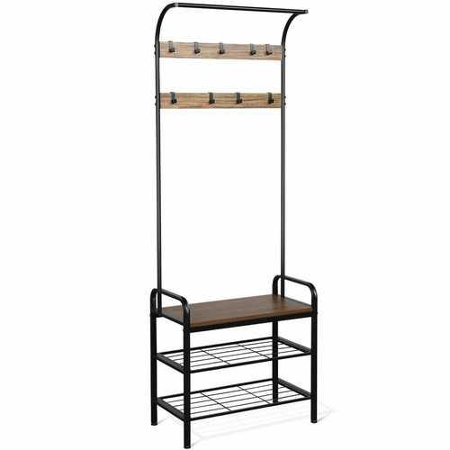 Industrial Coat Shoe Bench Entryway Shelf with 9 Hooks - NorCal Cyber Sales