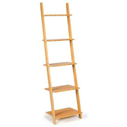 "5-Tier Ladder Shelf Modern Bamboo Leaning Bookshelf Ladder Bookcase - Color: Natural - Size: 17"" x 14"" x 65"" - NorCal Cyber Sales"