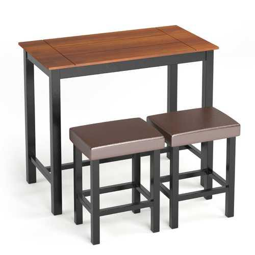 3 Piece Set Pub Dining Table with Stools - NorCal Cyber Sales