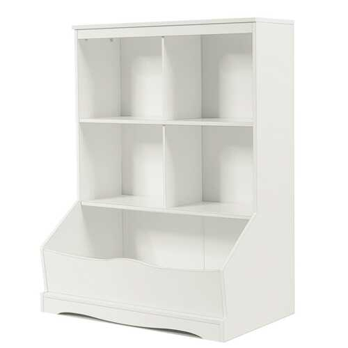3-Tier Children's Multi-Functional Bookcase Toy Storage Bin Floor Cabinet-White - Color: White - NorCal Cyber Sales