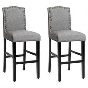 "Set of 2 Bar Stools 30"" Upholstered Kitchen Nailhead Bar Chairs-Gray - NorCal Cyber Sales"