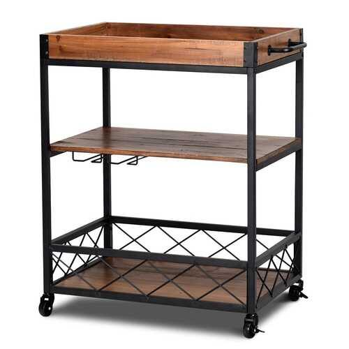 3 Tier Serving Dining Storage Shelf Rolling Kitchen Trolley - NorCal Cyber Sales