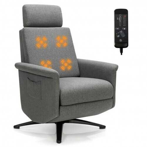 Swivel Massage Recliner Single Sofa with Adjustable Headrest-Gray - Color: Gray - NorCal Cyber Sales