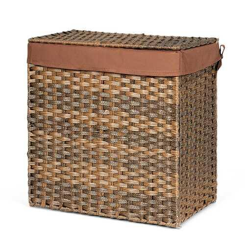 Hand-woven Foldable Rattan Laundry Basket-Brown - Color: Brown - NorCal Cyber Sales