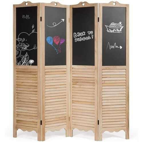 4-Panel Folding Privacy Room Divider Screen with Chalkboard - NorCal Cyber Sales