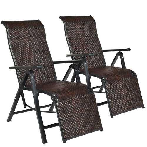 2Pcs Patio Rattan Folding Lounge Chair - NorCal Cyber Sales