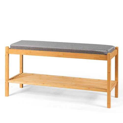 Bamboo Upholstered Padded Shoes Storage Bench - NorCal Cyber Sales